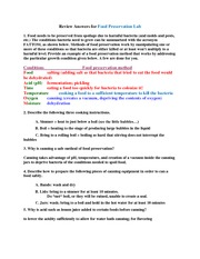 Review Sheet: Food Preservation