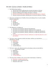 Questions on Module 1 dets of health stu