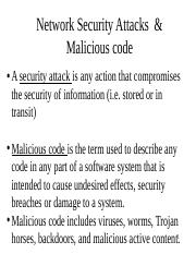Network Security Attacks  & Malicious code
