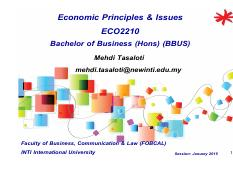 Economic Principles & Issues-ECO2210-BBUS-Topic 3-  Elasticity