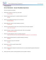 6.9.1.6 Worksheet - Answer Broadband Questions