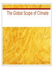 Lecture 6- The Global Scope of Climate