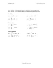 Basic Signals and Systems Formulas