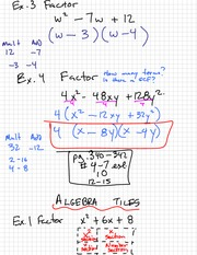 Factoring Using Tiles Notes