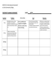 Treatment Planning Worksheet Betty