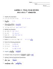 Alg_ 2 Final Study Guide Fall ANSWERS