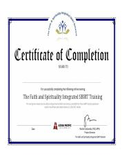 SBIRT Training Completion Certificate