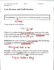 Cost, Revenue and Profit Function Lecture Notes