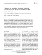Predicting the probability of winning sealed bid auctions_ the effects of outliers on bidding models