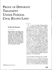 Proof of Disparate Treatment Under Federal Civil Rights Laws