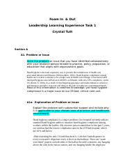 Leadership Experience Project Task 1 docx - Foam In Out