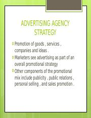 ADVERTISING AGENCY STRATEGY
