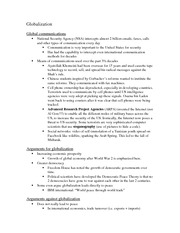 Class notes- Globalization and Transnationalism