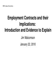 Employment Contracts and their Implications: Introduction and Evidence to Explain