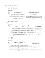 derivative practice problems and solutions pdf