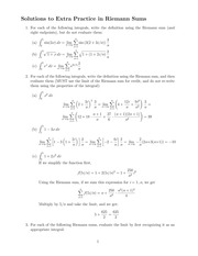 Solutions to Extra Practice in Riemann Sums