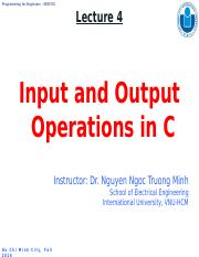 Lecture 4-Input and Output Operations in C