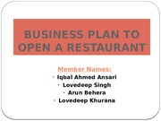 Business Plan (Restaurant)