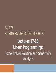 Class17-18 Solver and Sensitivity Analysis