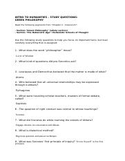 Study Questions - Quiz 3 - Greek Philosophy .docx