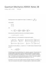 Quantum Mechanics 40454 Notes 34 pdf - Quantum Mechanics 40454 Notes
