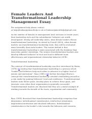 Female Leaders And Transformational Leadership Management Essay