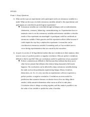 PSY305 Exam1 Essay Questions.docx