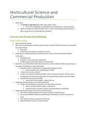 Horticultural Science and Commercial Production (PBIO)
