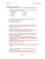 answers worksheet 4 ch1020 exercises worksheet 4 electronegativity polarity of molecules bond. Black Bedroom Furniture Sets. Home Design Ideas