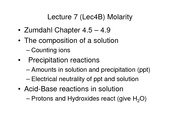 Lecture 4B on Molarity