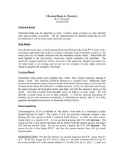 Lecture 7 NotesChemical Bonds in Chemistry