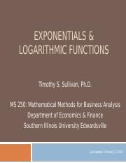 MS250 Exponentials and Logs