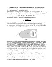 Chm 152 LL Experiment 3 The Equilibrium Constant and Lechateirs Principle