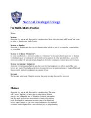 Motions Practice from the National Paralegal College