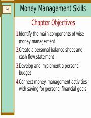 chapter 02 bus269 2 1 money management skills chapter objectives 1
