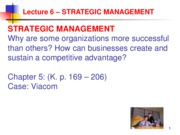 Lecture 6 Strategic Management