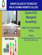 Dr. Nulla Week 12 & 13 Managerial Accounting