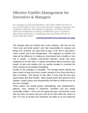 Effective Conflict Management for Executives