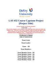 LAS 432 GROUP PROJECT COVER SHEET