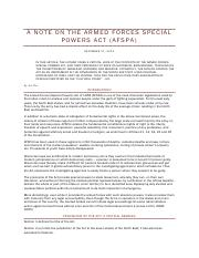A Note on the Armed Forces Special Powers Act