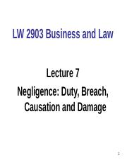 LW2903 Business and Law - Lecture 7