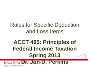 07_Rules for Specific Deduction and Loss Items