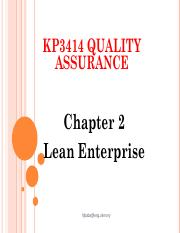 KP3414 QA - Chapter 2 Lean Enterprise