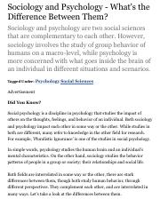 difference between sociology and psychology