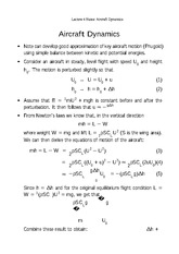 Lecture 4 Notes Aircraft Dynamics