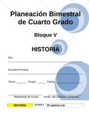 4to Grado - Bloque V - Historia - Planeacin Bimestral de Cuarto ...