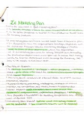 Details of a Marketing Plan Notes