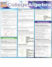 College Algebra Reference Sheet