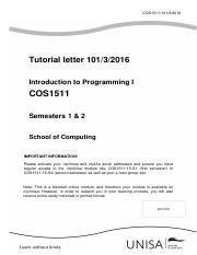 Tutorial Letter COS 1511