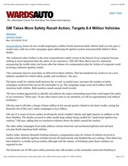 GM Takes More Safety Recall Action, Targets 8.4 Million Vehicles